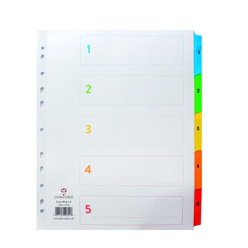 Concord Multicoloured Index Extra Wide 1-5 Numeric A4+ 09601/CS96