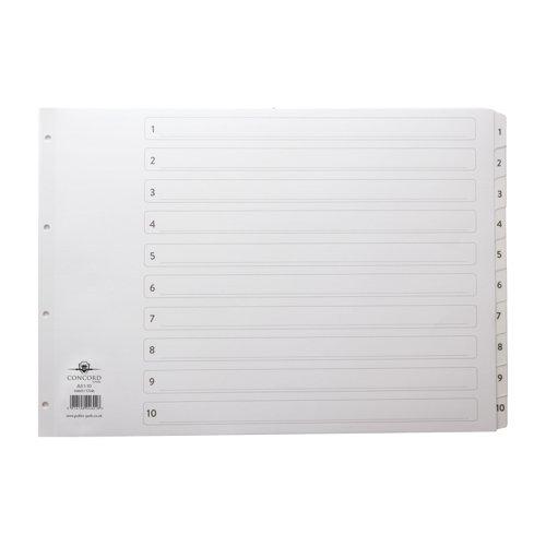Concord Classic Index 1-10 Numeric A3 White 04601/CS46
