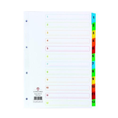 Concord Multicoloured Index 1-12 Numeric A4 01301/CS13