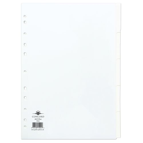 Concord Manilla Subject Dividers A4 5 Part White 79901/99