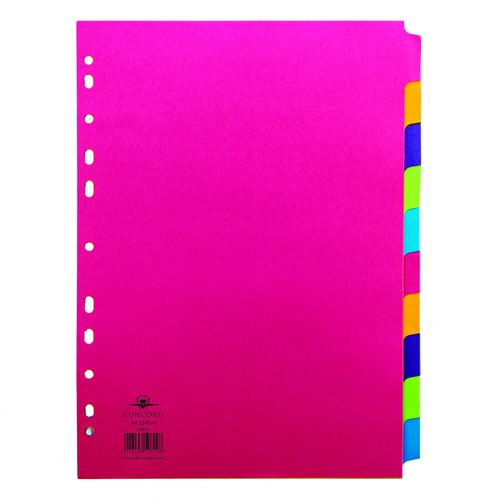 Concord Contrast Subject Dividers 10 Part A4 Assorted 50899