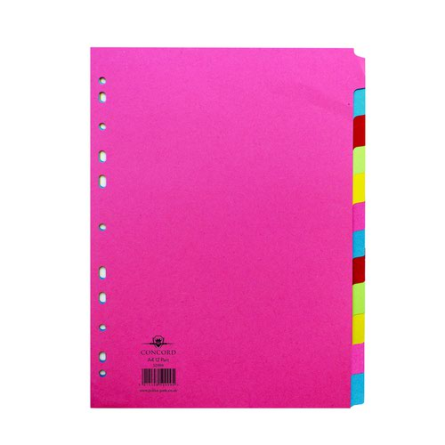 Concord Contrast Subject Dividers 12 Part A4 Assorted 50999