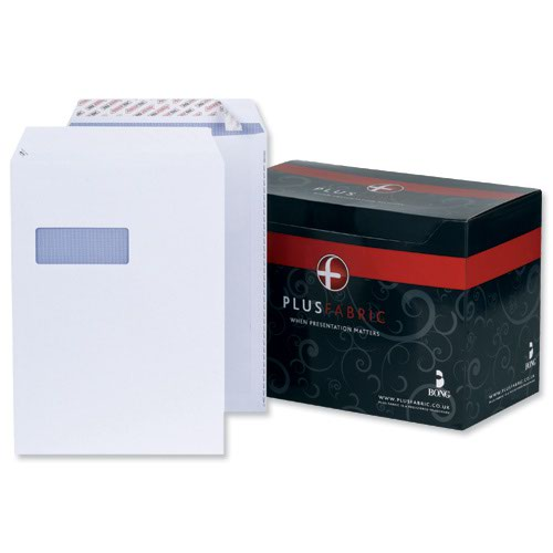 Plus Fabric Pocket Envelopes Easy-Open Peel & Seal Window C4 White 120gsm (250) L23970