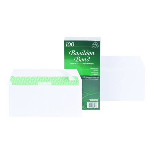 Basildon Bond Wallet Envelopes Peel & Seal DL White 100gsm (100) F80275
