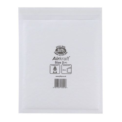 Jiffy Airkraft Bubble Lined Bag Size 2 205x245mm White (100) JL-2
