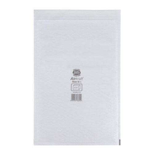 Jiffy Airkraft Bubble Lined Bag Size 6 290x445mm White (50) JL-6