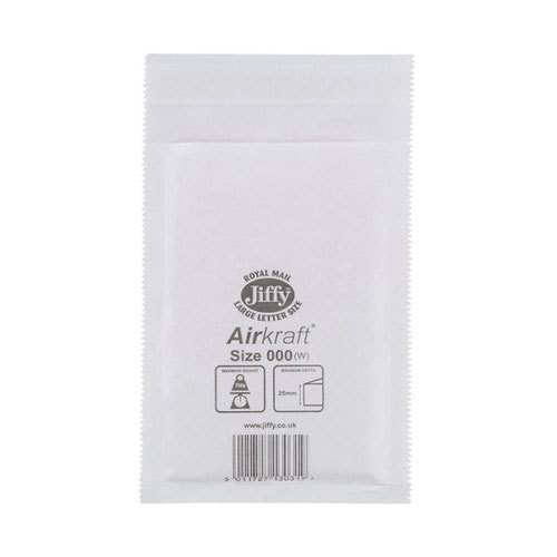Jiffy Airkraft Bubble Lined Bag Size 000 90x144mm White (150) JL-000