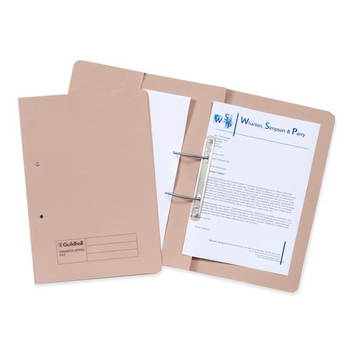 Guildhall Transfer Spiral Pocket File Foolscap Buff 315gsm 349-BUFZ