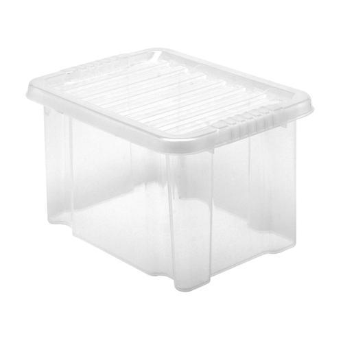 Value Plastic Stackable Storage Box 24 Litre Clear
