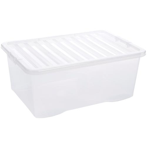 Value Plastic Stackable Storage Box 45 Litre Clear