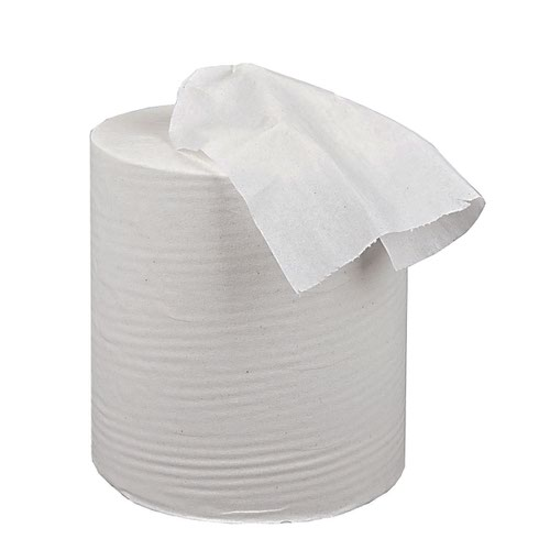 2Work 2-Ply Centrefeed Roll 150m White (Pack of 6) KF03804
