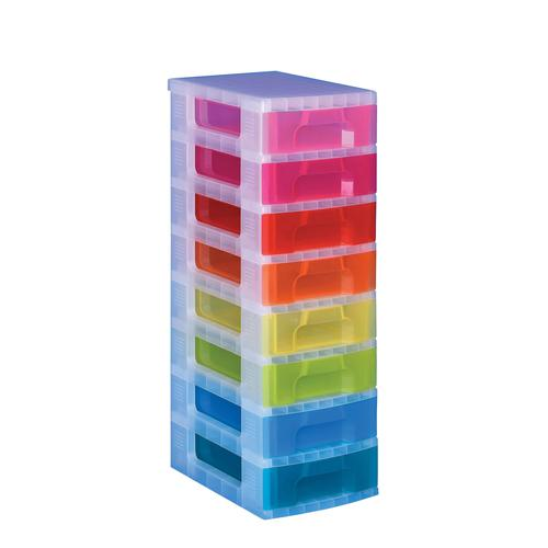 Really Useful Storage Tower 8x7 Litre Drawers Clear Frame/Assorted Drawers DT1007