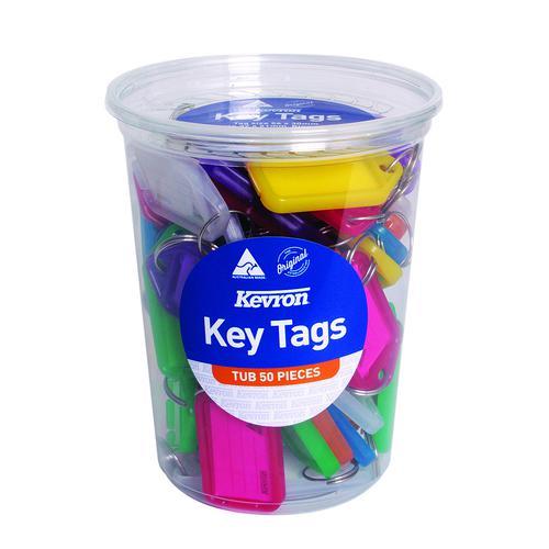 Kevron Standard Key Tags 56x30mm Assorted (50) ID5TUB50ASST