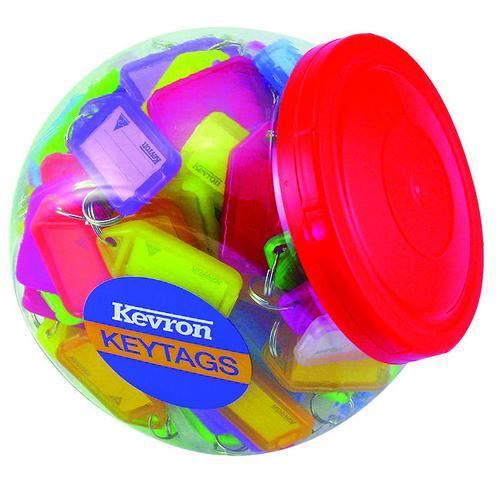 Kevron Standard Key Tags 56x30mm Assorted (150)