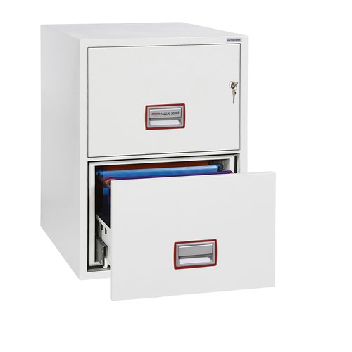 Phoenix Fire File Cabinet 2 Drawer White 530x675x805mm FS2252K