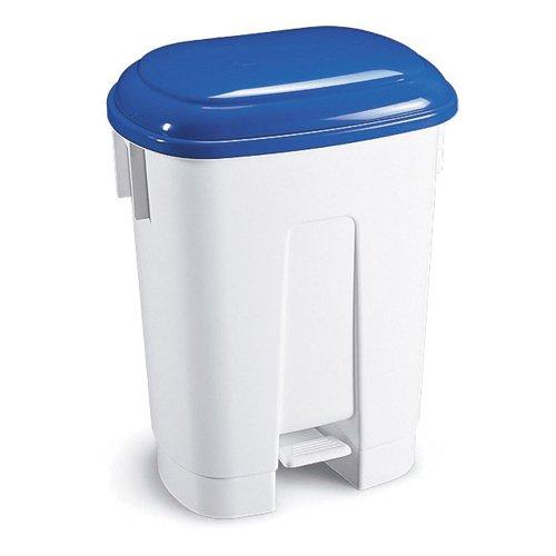 Plastic Bin White/Blue 30 Litre 348022