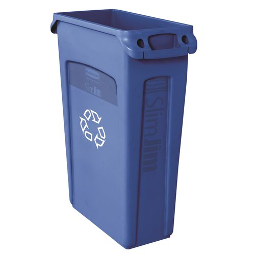 Rubbermaid Slim Jim Recycling System Venting Container Blue FG354007BLUE