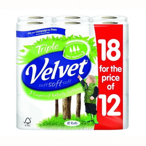 Triple Velvet Toilet Tissue White (18) 1102048