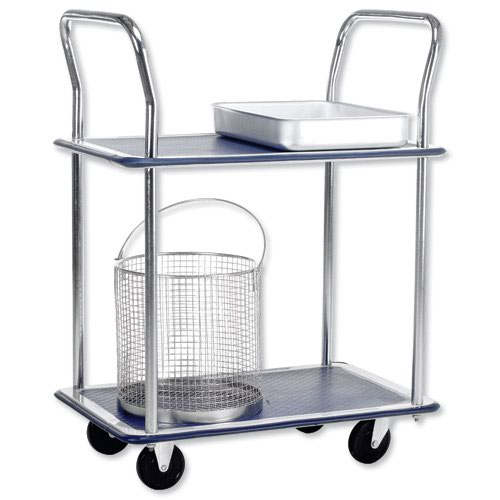 Barton Lightweight Trolley 2 Shelf Chrome 120kg Capacity