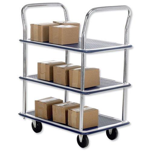 Barton Lightweight Trolley 3 Shelf Chrome 120kg Capacity