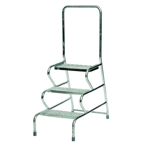Fort Stable Mobile Steps 3 Step With Handrail 600mm Galvanised GS3013G