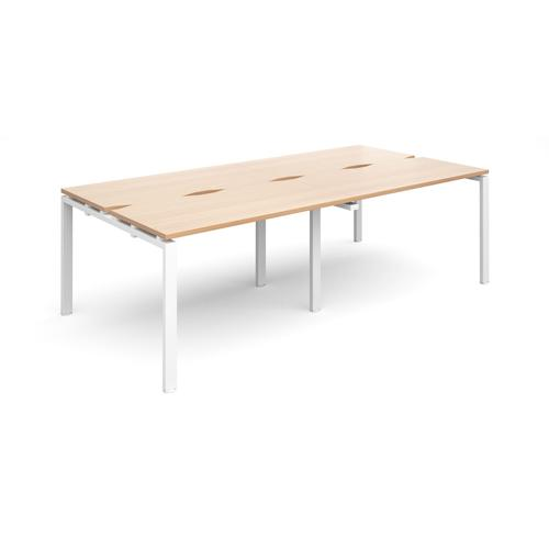 Adapt II Bench System Double Back To Back Desks 2400x1200x725mm White/Beech E2412-WH-B