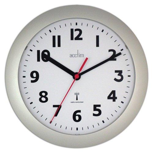 Acctim Parona Radio Controlled Wall Clock 230mm Silver