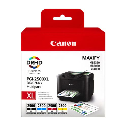 Canon No.2500 Inkjet Cartridge High Capacity Black/Cyan/Magenta/Yellow Value Pack PGI2500XL