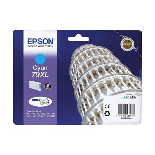 Epson No.79XL Tower of Pisa Inkjet Cartridge High Capacity Cyan T79024010