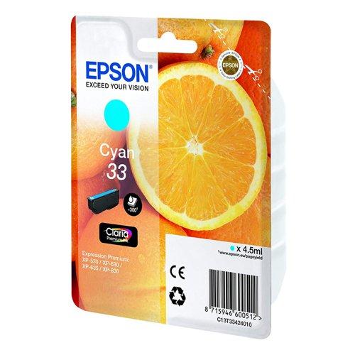 Epson No.33 Oranges Inkjet Cartridge Cyan T33424012