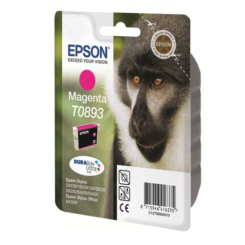 Epson T0893 Monkey Inkjet Cartridge Magenta T08934010