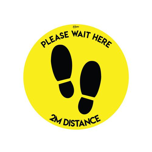 Image for Avery COVID-19 Yellow/Black Social Distance Circular Floor Sticker 405mm (2)