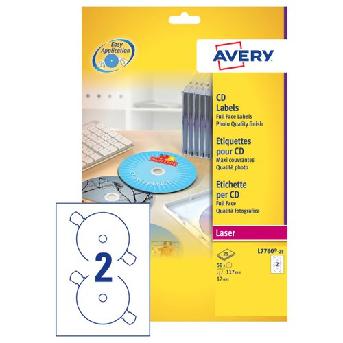 Avery Full Face CD/DVD Laser Labels Glossy Colour (25) L7760-25