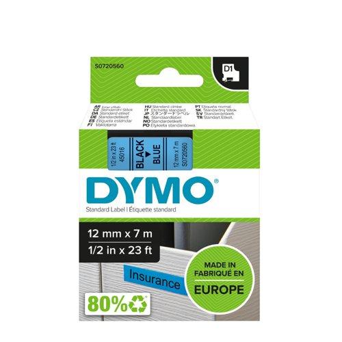DYMO D1 Label Tape 12mm Black on Blue 45016 S0720560