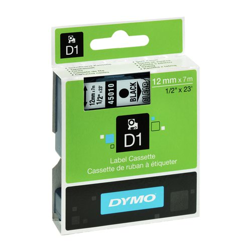 DYMO D1 Label Tape 12mm Black on Clear 45010 S0720500
