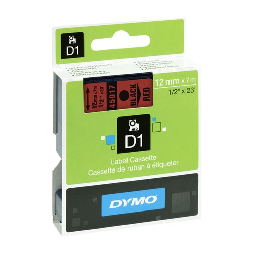 DYMO D1 Label Tape 12mm Black on Red 45017 S0720570