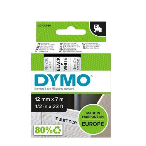 DYMO D1 Label Tape 12mm Black on White 45013 S0720530