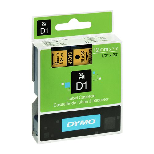 DYMO D1 Label Tape 12mm Black on Yellow 45018 S0720580