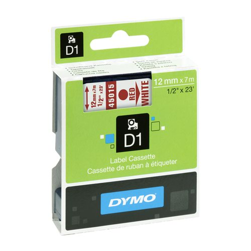 DYMO D1 Label Tape 12mm Red on White 45015 S0720550