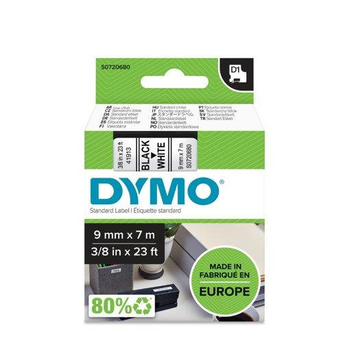 DYMO D1 Label Tape 9mm Black on White 40913 S0720680