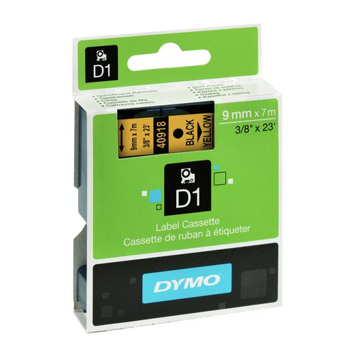 DYMO D1 Label Tape 9mm Black on Yellow 40918 S0720730