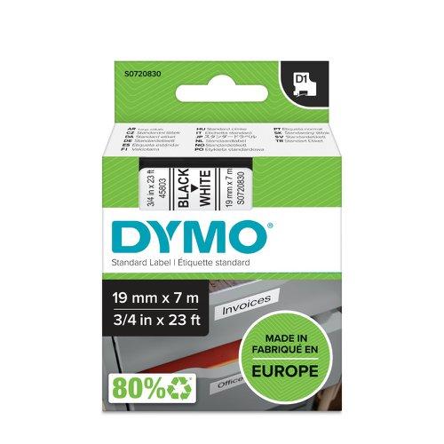 DYMO D1 Label Tape 19mm Black on White 45803 S0720830