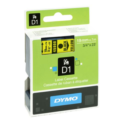 DYMO D1 Label Tape 19mm Black on Yellow 45808 S0720880