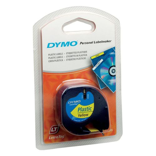 DYMO LetraTag Tape 12mm Plastic Black on Yellow 91202 S0721620