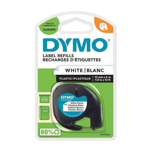DYMO LetraTag Tape 12mm Plastic Black on White 91201 S0721660