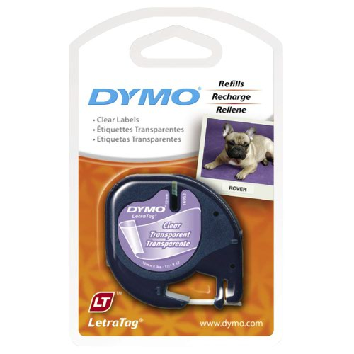DYMO LetraTag Tape 12mm Plastic Black on Clear 12267 S0721530