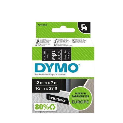DYMO D1 Label Tape 12mm White on Black 45021 S0720610