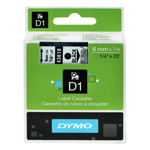 DYMO D1 Label Tape 6mm Black on Clear 43610 S0720770