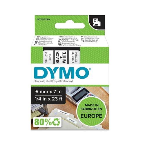 DYMO D1 Label Tape 6mm Black on White 43613 S0720780