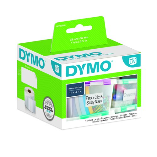 DYMO LabelWriter Removable Multipurpose Labels 57x32mm White 11354 S0722540